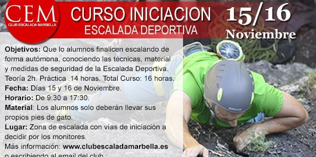 El Club de Escalada Marbella impartirá este fin de semana un Curso de Iniciación a la Escalada Deportiva