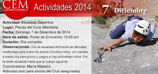 El Club de Escalada Marbella organiza este domingo 7 de diciembre una jornada de escalada deportiva en las Placas del Cura-Istán