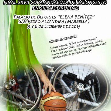 Este fin de semana se celebra en San Pedro Alcántara la Final de la XXVII Copa Andaluza de Baloncesto en Silla de Ruedas