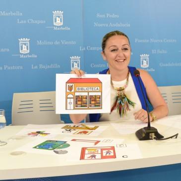 El Ayuntamiento instala pictogramas en las bibliotecas para hacerlas más accesibles a niños con autismo o trastornos generales del desarrollo