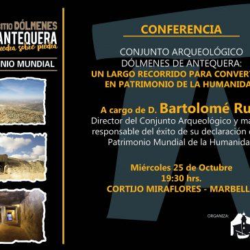 conferencia sobre los Dólmenes de Antequera con la presencia de Bartolomé Ruiz,