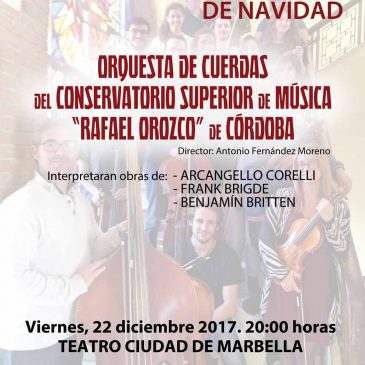 El Teatro Ciudad de Marbella acogerá este viernes un concierto de Navidad de la Orquesta de Cuerdas del Conservatorio Superior de Música 'Rafael Orozco' de Córdoba