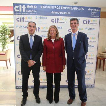 El presidente de la Diputación de Málaga, Elías Bendodo, ponente  en los almuerzos de la Asociación de Empresarios y Profesionales CIT Marbella