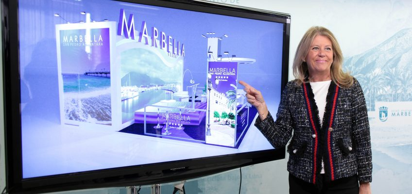 """La alcaldesa ha destacado el diseño del stand, """"un espacio moderno de 150 metros cuadrados cuadrados, que se divide en dos módulos, uno dirigido a las presentaciones y otro destinado a zona de trabajo y reuniones"""""""