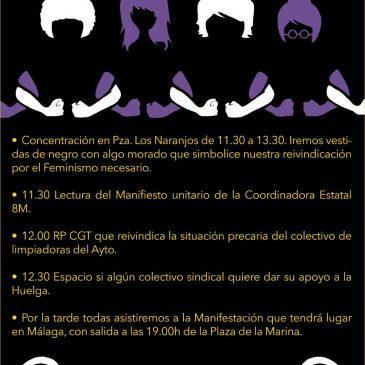 IZQUIERDA UNIDA MARBELLA SE SUMA A LA HUELGA FEMINISTA DEL 8 DE MARZO