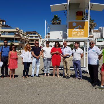 La Mancomunidad instala cinco torretas de vigilancia en las playas de Manilva   •El presupuesto invertido ha sido de 21.371,29 €.