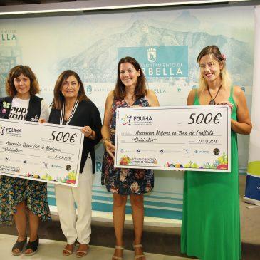 El Ayuntamiento y la Fundación de la UMA entregan a 'Debra-Piel de Mariposa' y 'Mujeres en zonas de conflicto' 1.000 euros recaudados en el festival benéfico con motivo de los Cursos de Verano