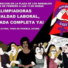 concentración del grupo de limpiadoras por la reivindicación de la Igualdad Laboral, por su discriminación en la jornada, para mañana día 22/2/19, en la Plaza de los Naranjos, de 11.00 horas a 14 horas.
