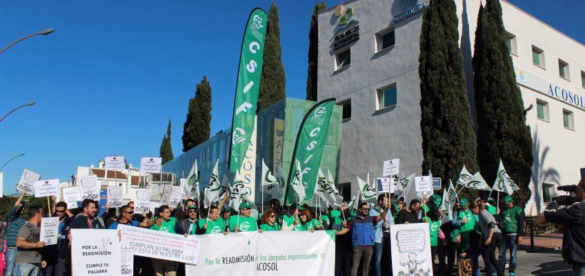 ADMINISTRACIÓN LOCAL CSIF se moviliza para exigir a Acosol la readmisión de los despidos declarados improcedentes