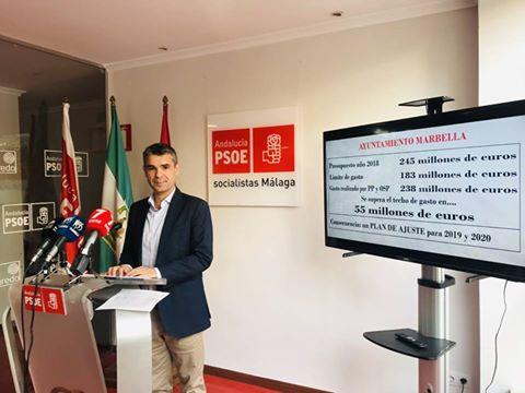 """EL PSOE CONSIDERA """"UN DESPILFARRO LETAL PARA MARBELLA"""" QUE MUÑOZ SE HAYA SALTADO EL TECHO DE GASTO EN 55 MILLONES DE EUROS"""